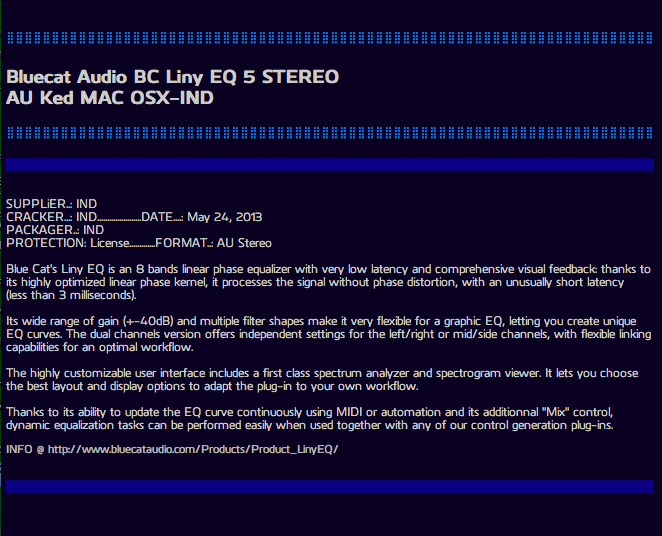 Download Blue Cat Audio BC Liny EQ 5 STEREO AU VST Ked MAC OSX-IND