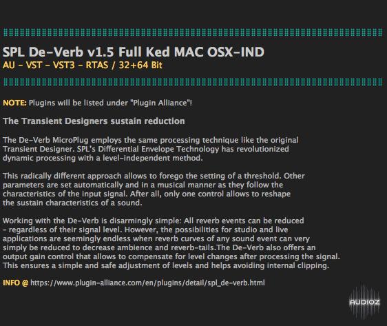 Download SPL De-Verb v1 5 Full Ked MAC OSX-IND » AudioZ