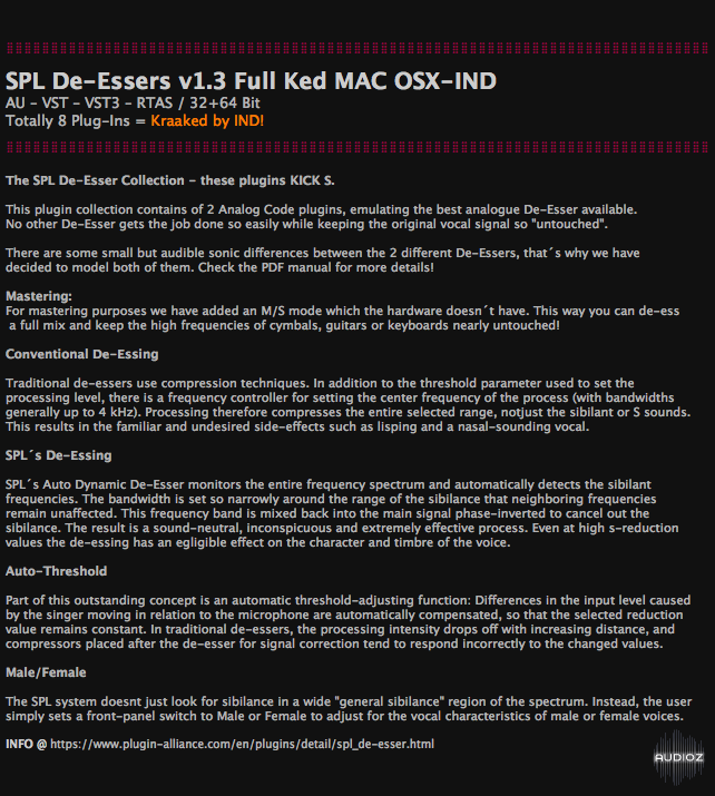 Download SPL De-Essers v1 3 Full Ked MAC OSX-IND » AudioZ